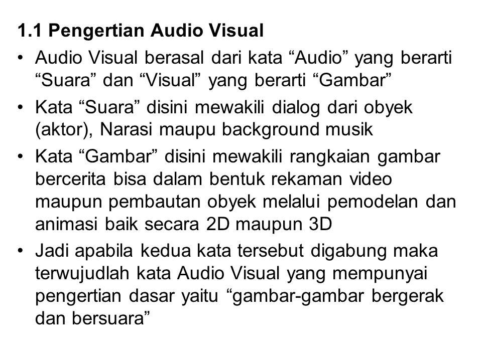 "1.1 Pengertian Audio Visual Audio Visual berasal dari kata ""Audio"" yang berarti ""Suara"" dan ""Visual"" yang berarti ""Gambar"" Kata ""Suara"" disini mewakil"