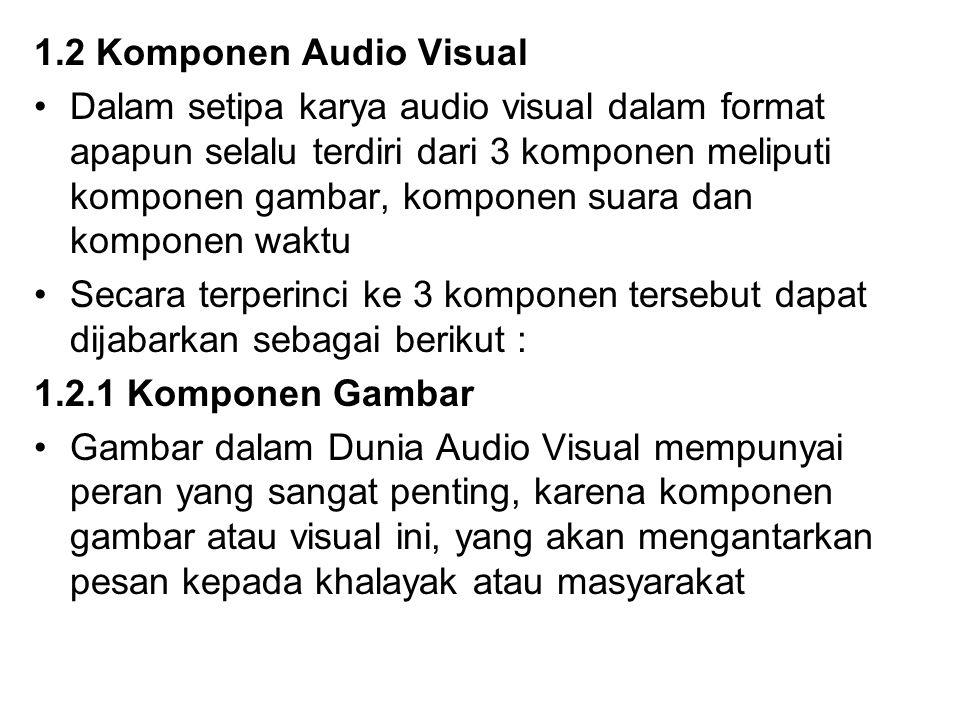 1.2 Komponen Audio Visual Dalam setipa karya audio visual dalam format apapun selalu terdiri dari 3 komponen meliputi komponen gambar, komponen suara
