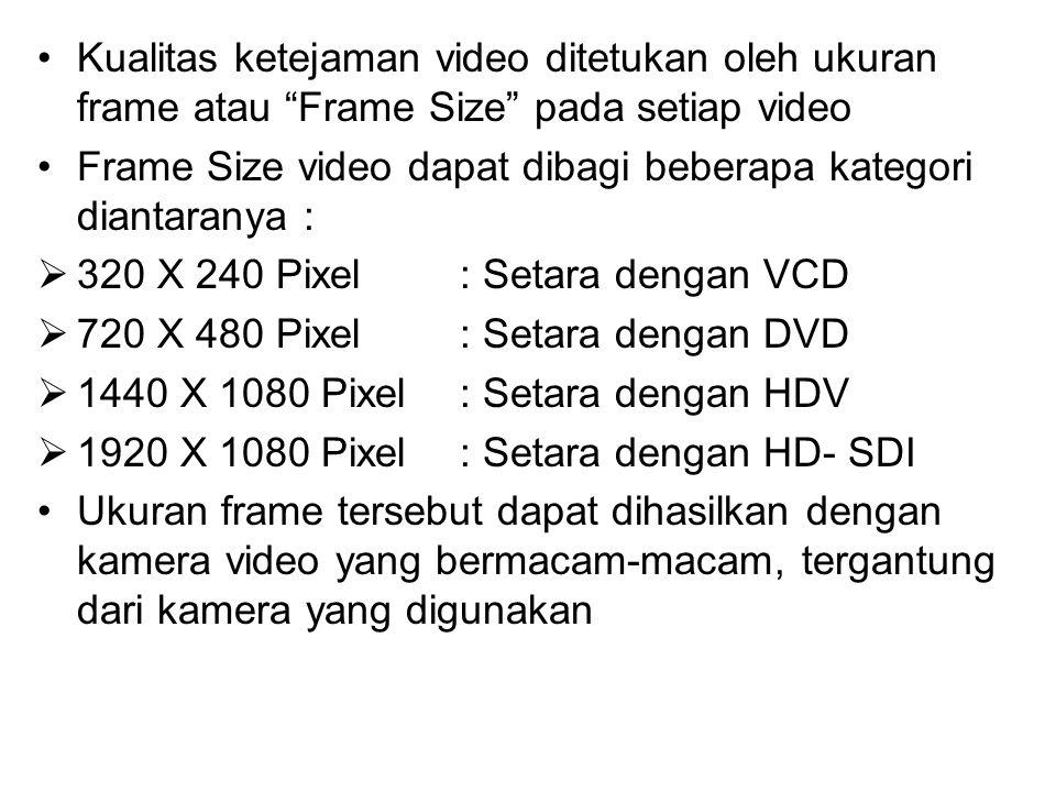 """Kualitas ketejaman video ditetukan oleh ukuran frame atau """"Frame Size"""" pada setiap video Frame Size video dapat dibagi beberapa kategori diantaranya :"""