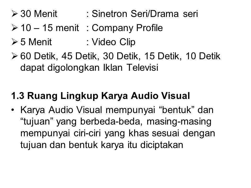  30 Menit : Sinetron Seri/Drama seri  10 – 15 menit: Company Profile  5 Menit : Video Clip  60 Detik, 45 Detik, 30 Detik, 15 Detik, 10 Detik dapat