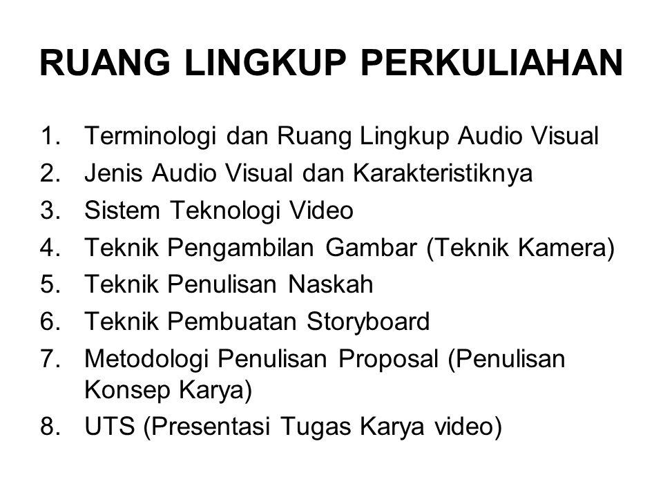 RUANG LINGKUP PERKULIAHAN 1.Terminologi dan Ruang Lingkup Audio Visual 2.Jenis Audio Visual dan Karakteristiknya 3.Sistem Teknologi Video 4.Teknik Pen