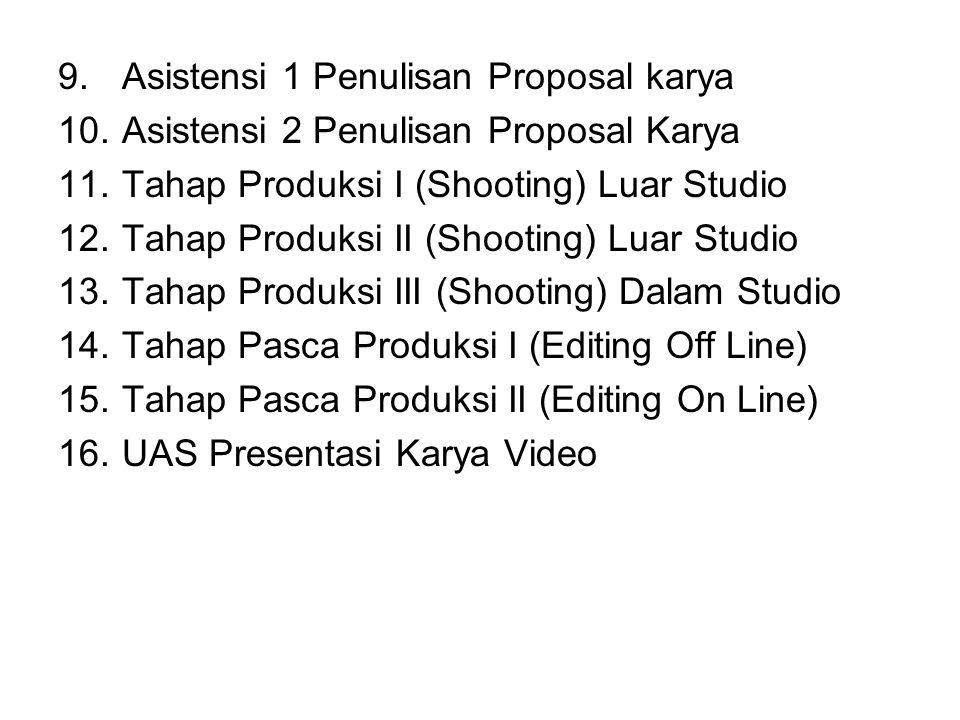 9.Asistensi 1 Penulisan Proposal karya 10.Asistensi 2 Penulisan Proposal Karya 11.Tahap Produksi I (Shooting) Luar Studio 12.Tahap Produksi II (Shooti
