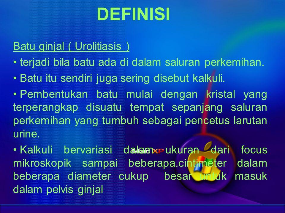 DEFINISI Batu ginjal ( Urolitiasis ) terjadi bila batu ada di dalam saluran perkemihan. Batu itu sendiri juga sering disebut kalkuli. Pembentukan batu