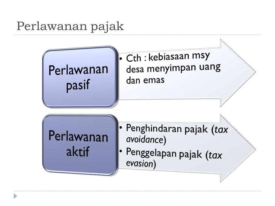 Hambatan Pemungutan Pajak 1. Perlawanan Pasif :  masyarakat enggan membayar pajak yang disebabkan karena : a. Intelektual dan moral masyarakat, b. Si