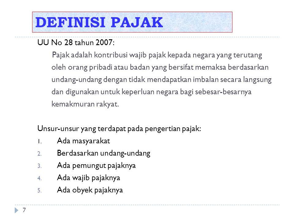DEFINISI PAJAK 7 UU No 28 tahun 2007: Pajak adalah kontribusi wajib pajak kepada negara yang terutang oleh orang pribadi atau badan yang bersifat memaksa berdasarkan undang-undang dengan tidak mendapatkan imbalan secara langsung dan digunakan untuk keperluan negara bagi sebesar-besarnya kemakmuran rakyat.