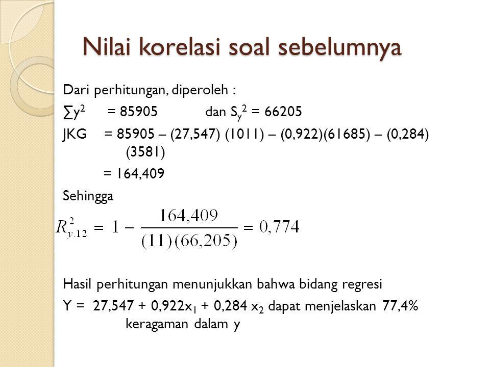 Nilai korelasi soal sebelumnya Dari perhitungan, diperoleh : ∑y 2 = 85905dan S y 2 = 66205 JKG = 85905 – (27,547) (1011) – (0,922)(61685) – (0,284) (3581) = 164,409 Sehingga Hasil perhitungan menunjukkan bahwa bidang regresi Y = 27,547 + 0,922x 1 + 0,284 x 2 dapat menjelaskan 77,4% keragaman dalam y