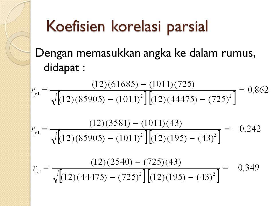 Koefisien korelasi parsial Dengan memasukkan angka ke dalam rumus, didapat :