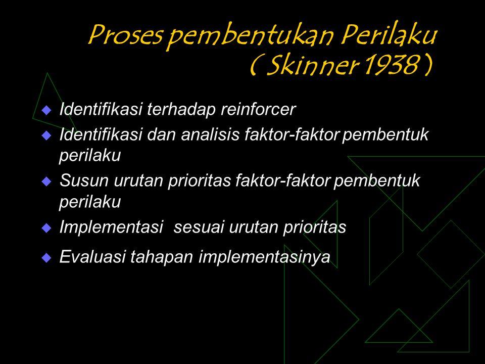 Proses pembentukan Perilaku ( Skinner 1938 )  Identifikasi terhadap reinforcer  Identifikasi dan analisis faktor-faktor pembentuk perilaku  Susun u