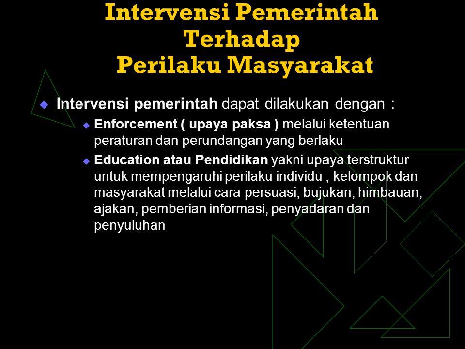 Intervensi Pemerintah Terhadap Perilaku Masyarakat  Intervensi pemerintah dapat dilakukan dengan :  Enforcement ( upaya paksa ) melalui ketentuan pe