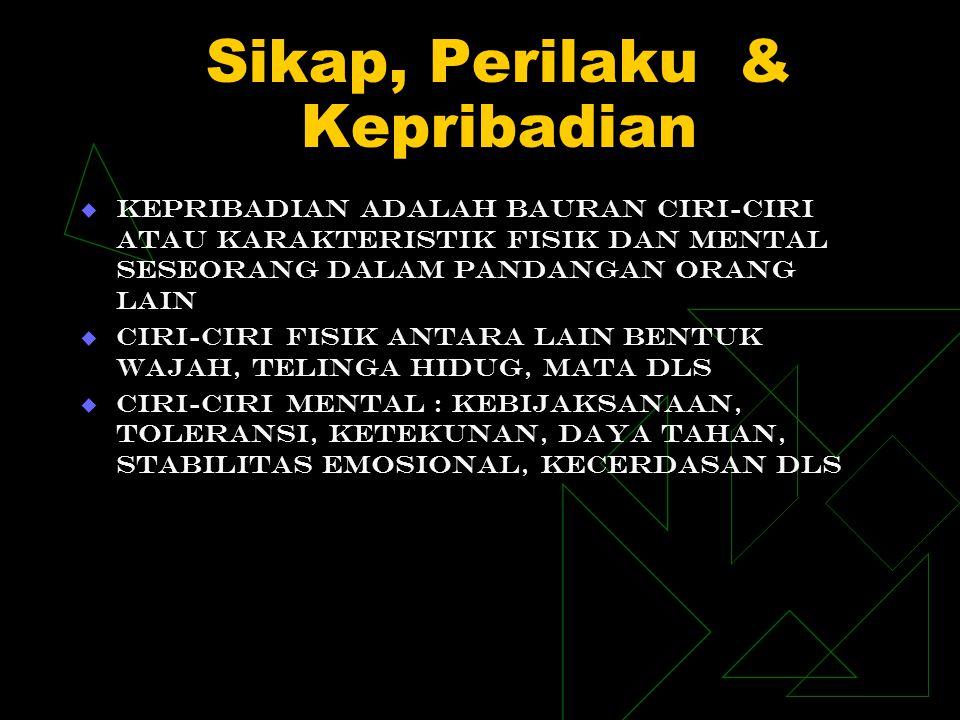 Sikap, Perilaku & Kepribadian  Kepribadian adalah bauran ciri-ciri atau karakteristik fisik dan mental seseorang dalam pandangan orang lain  Ciri-ci