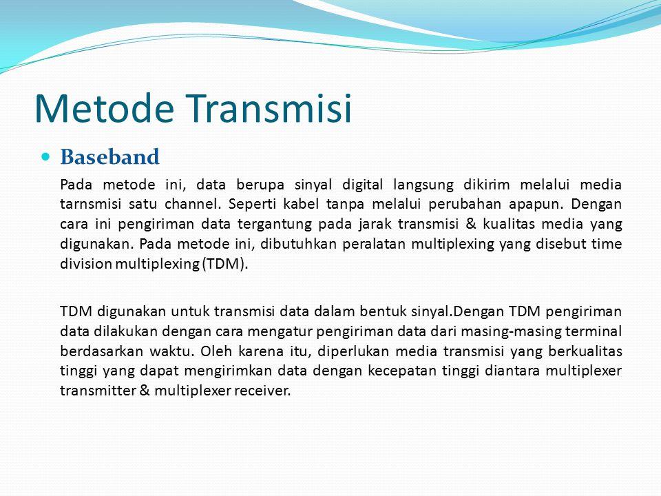 Metode Transmisi Baseband Pada metode ini, data berupa sinyal digital langsung dikirim melalui media tarnsmisi satu channel. Seperti kabel tanpa melal