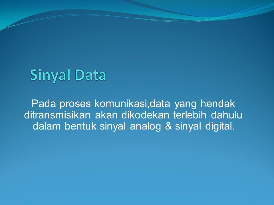 Pada proses komunikasi,data yang hendak ditransmisikan akan dikodekan terlebih dahulu dalam bentuk sinyal analog & sinyal digital.