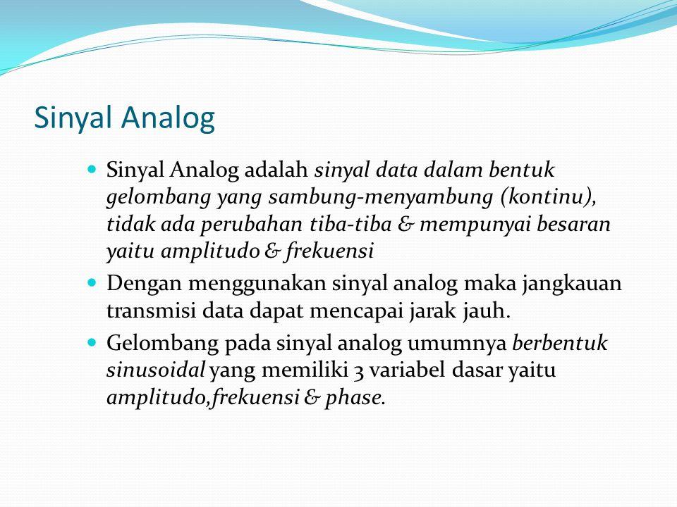 Sinyal Analog Sinyal Analog adalah sinyal data dalam bentuk gelombang yang sambung-menyambung (kontinu), tidak ada perubahan tiba-tiba & mempunyai bes