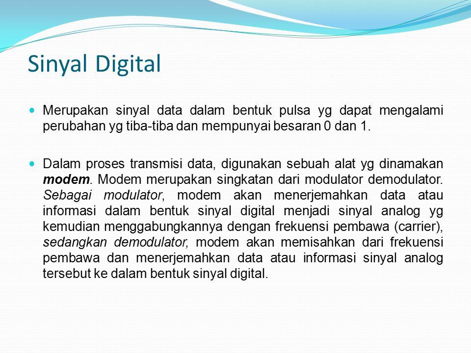 Sinyal Digital Merupakan sinyal data dalam bentuk pulsa yg dapat mengalami perubahan yg tiba-tiba dan mempunyai besaran 0 dan 1. Dalam proses transmis