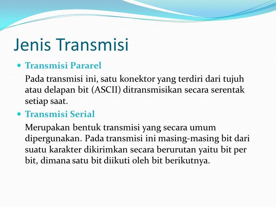 Jenis Transmisi Transmisi Pararel Pada transmisi ini, satu konektor yang terdiri dari tujuh atau delapan bit (ASCII) ditransmisikan secara serentak se