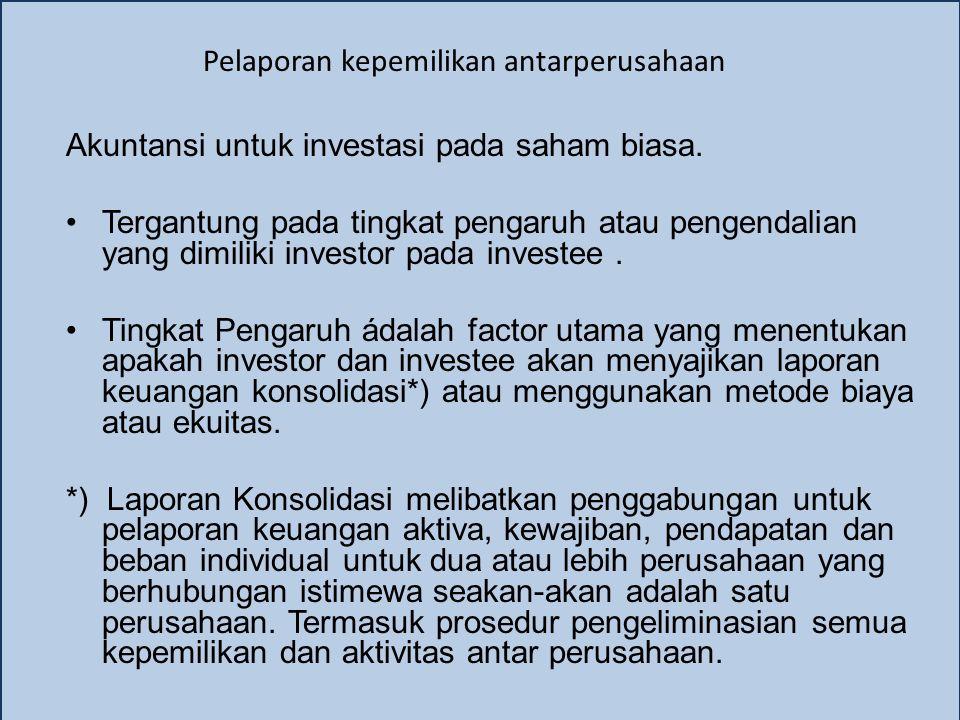 Pelaporan kepemilikan antarperusahaan Akuntansi untuk investasi pada saham biasa.