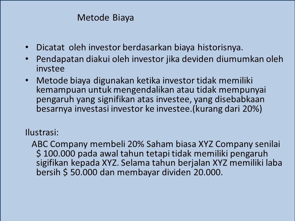 Metode Biaya Dicatat oleh investor berdasarkan biaya historisnya. Pendapatan diakui oleh investor jika deviden diumumkan oleh invstee Metode biaya dig