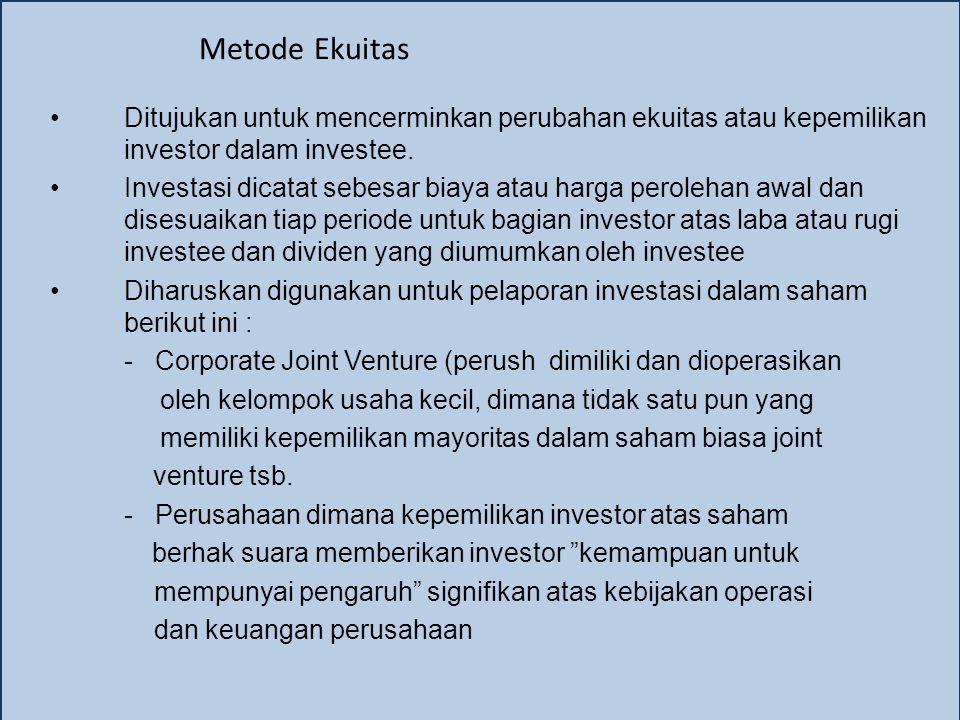 Metode Ekuitas Ditujukan untuk mencerminkan perubahan ekuitas atau kepemilikan investor dalam investee. Investasi dicatat sebesar biaya atau harga per