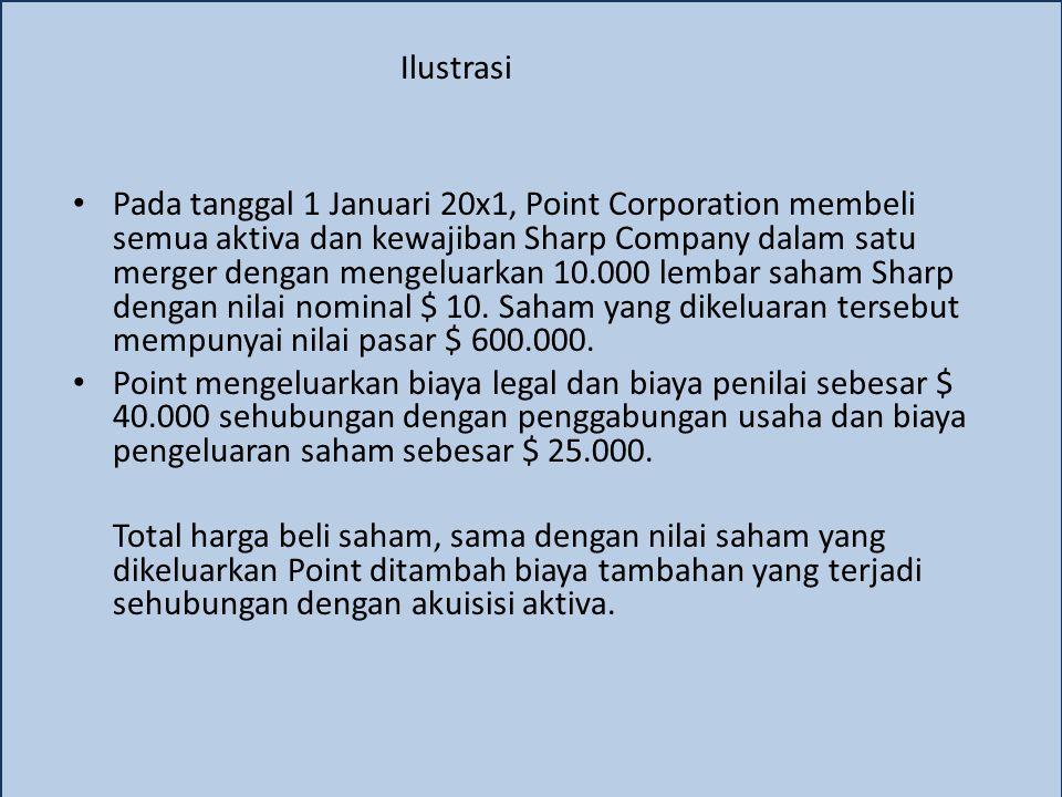 Ilustrasi Pada tanggal 1 Januari 20x1, Point Corporation membeli semua aktiva dan kewajiban Sharp Company dalam satu merger dengan mengeluarkan 10.000 lembar saham Sharp dengan nilai nominal $ 10.