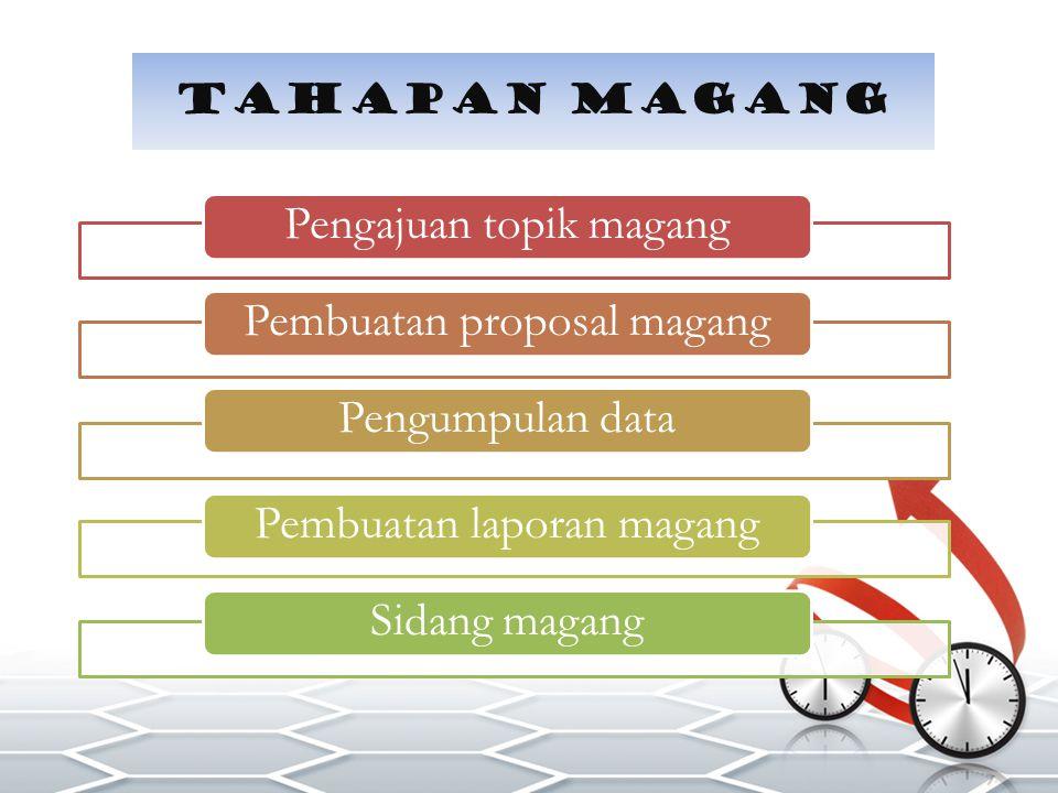 Pengajuan topik magangPembuatan proposal magangPengumpulan dataPembuatan laporan magangSidang magang Tahapan magang