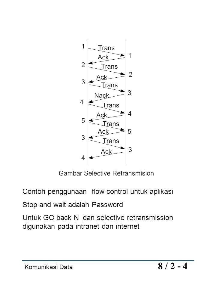 Komunikasi Data 8 / 2 - 4 Contoh penggunaan flow control untuk aplikasi Stop and wait adalah Password Untuk GO back N dan selective retransmission dig