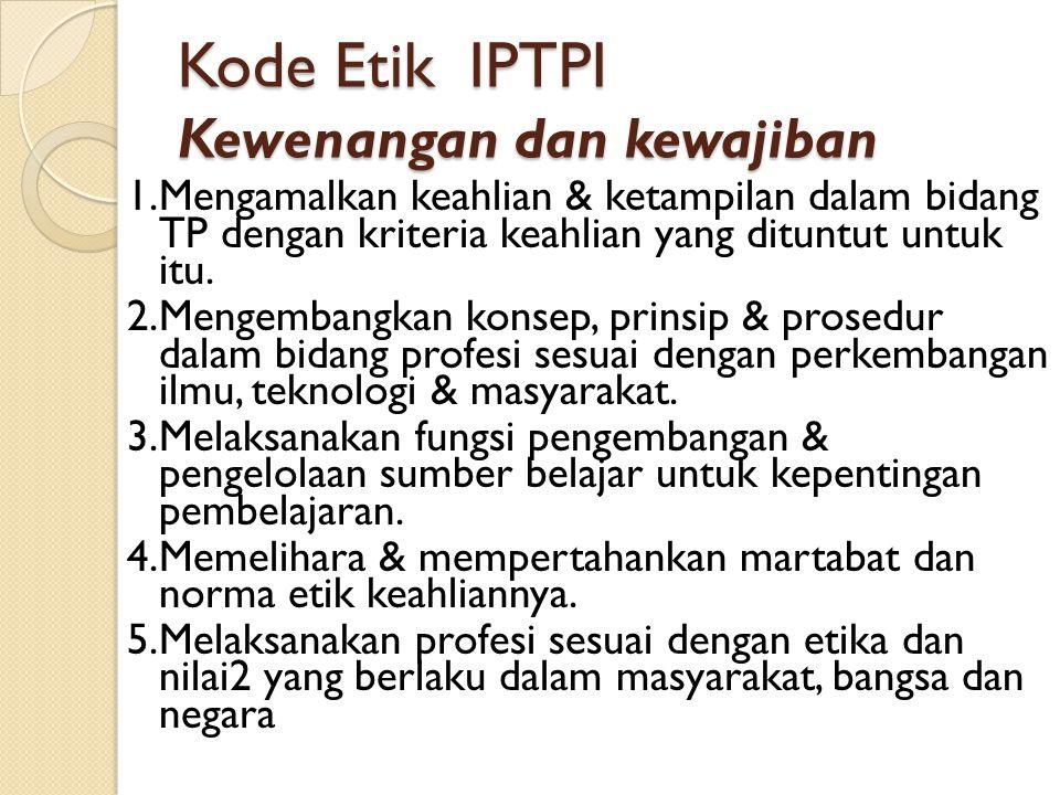 Kode Etik IPTPI Tanggung Jawab Kepada Perorangan Para anggota memenuhi tanggung jawabnya kepada perorangan dengan ketentuan: 1.Menjaga kerahasiaan informasi pribadi peserta didik dalam melaksanakan tugasnya 2.Menjamin agar setiap pribadi peserta didik memperoleh kesempatan yang sama dalam pembelajaran.