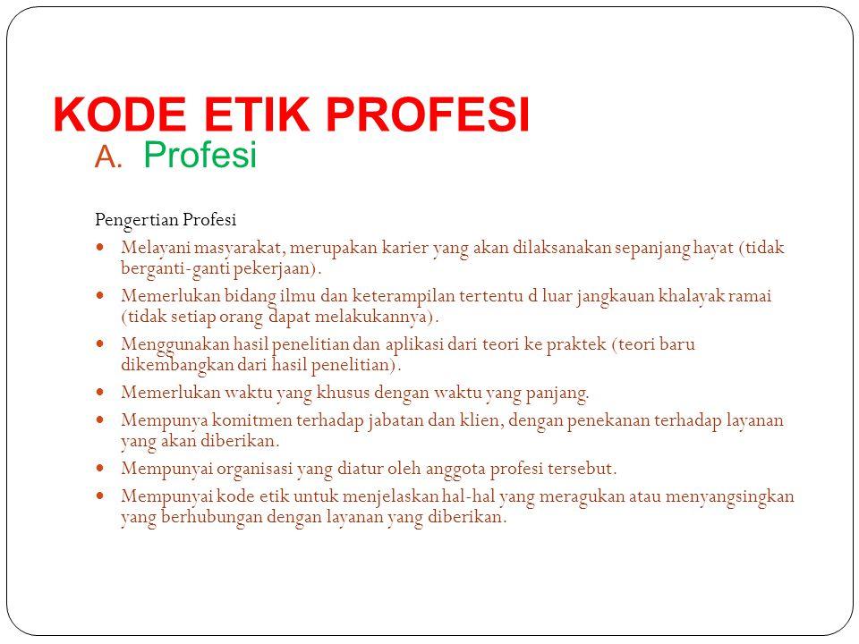 B.Kode Etik Profesi Setiap profesi pasti memiliki suatu kode etik tertentu.