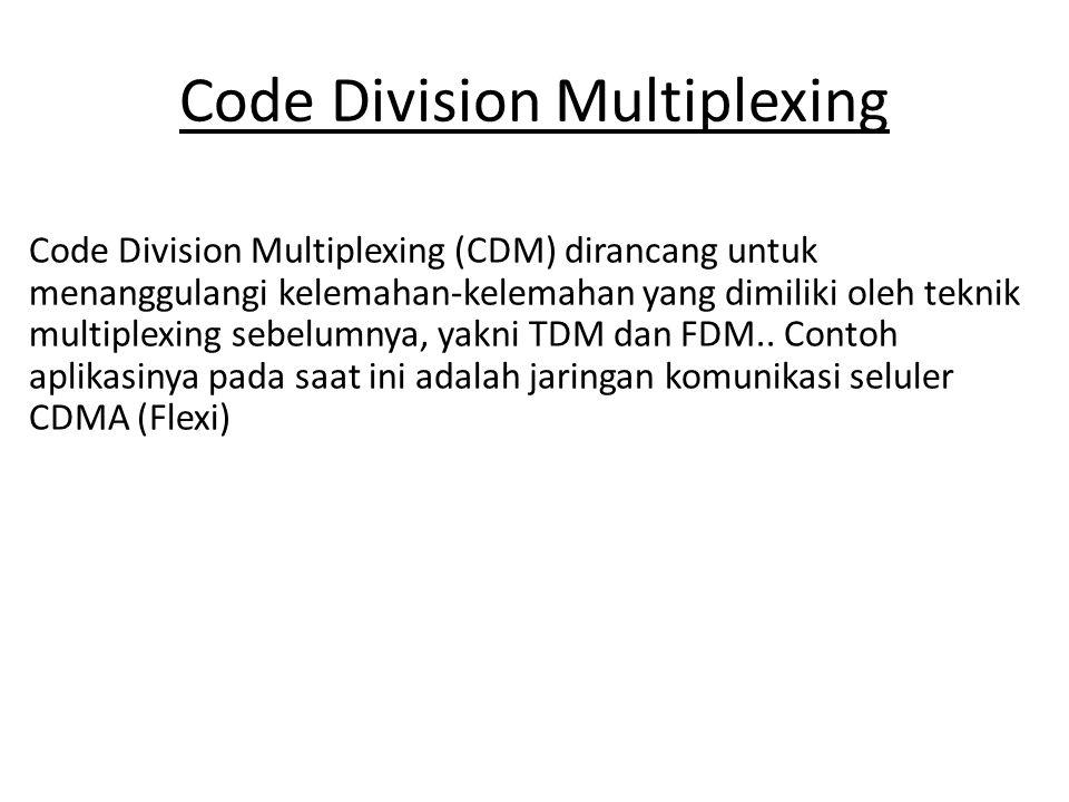 Code Division Multiplexing Code Division Multiplexing (CDM) dirancang untuk menanggulangi kelemahan-kelemahan yang dimiliki oleh teknik multiplexing sebelumnya, yakni TDM dan FDM..