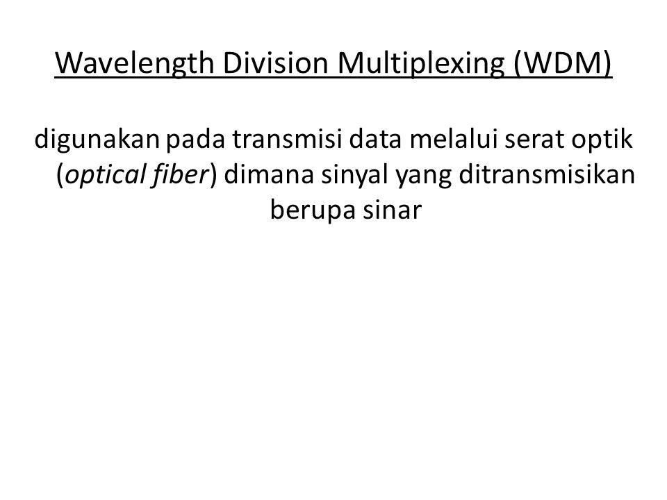 Wavelength Division Multiplexing (WDM) digunakan pada transmisi data melalui serat optik (optical fiber) dimana sinyal yang ditransmisikan berupa sinar