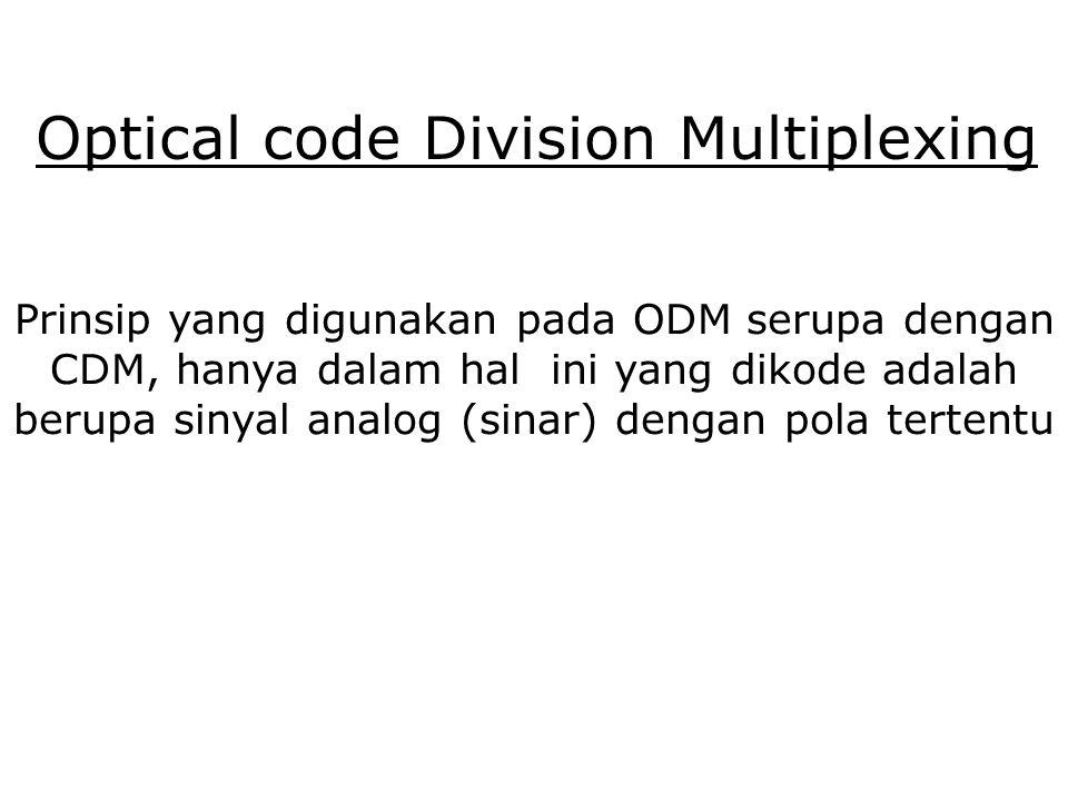Optical code Division Multiplexing Prinsip yang digunakan pada ODM serupa dengan CDM, hanya dalam hal ini yang dikode adalah berupa sinyal analog (sinar) dengan pola tertentu