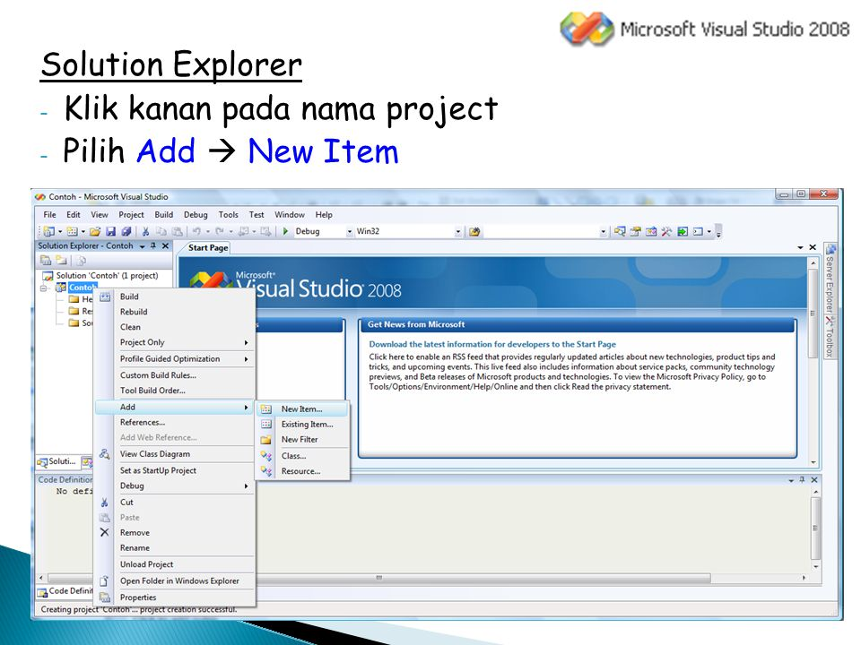 Solution Explorer - Klik kanan pada nama project - Pilih Add  New Item