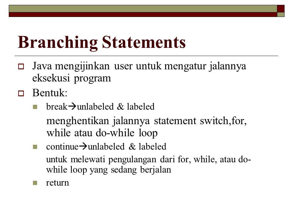Branching Statements  Java mengijinkan user untuk mengatur jalannya eksekusi program  Bentuk: break  unlabeled & labeled menghentikan jalannya statement switch,for, while atau do-while loop continue  unlabeled & labeled untuk melewati pengulangan dari for, while, atau do- while loop yang sedang berjalan return