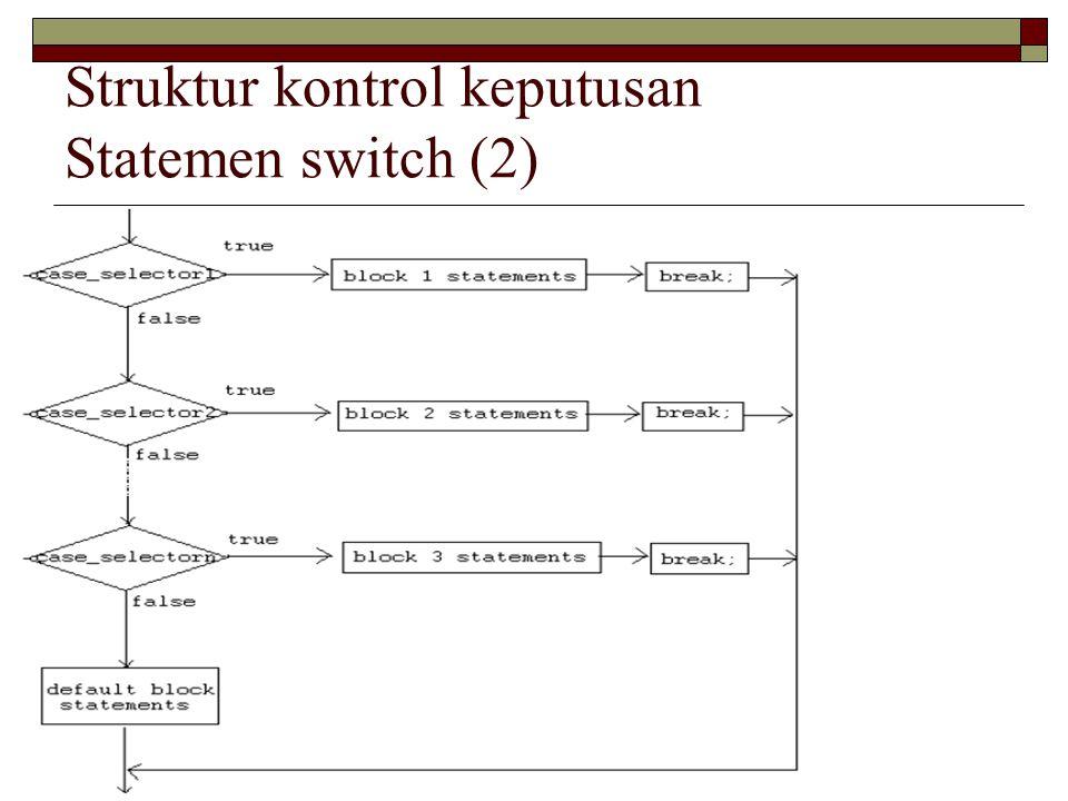 Struktur kontrol keputusan Statemen switch (3) public class Grade { public static void main( String[] args ) { int grade = 92; switch(grade){ case 100: System.out.println( Excellent! ); break; case 90: System.out.println( Good job! ); break; case 80: System.out.println( Study harder! ); break; default: System.out.println( Sorry, you failed. ); }