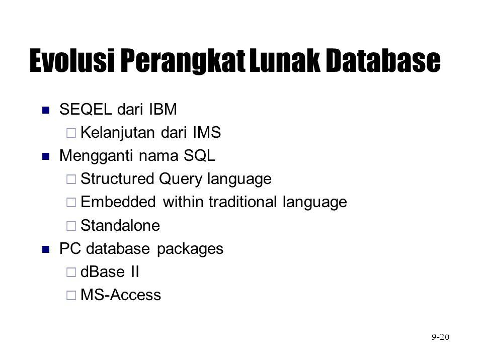 Evolusi Perangkat Lunak Database SEQEL dari IBM  Kelanjutan dari IMS Mengganti nama SQL  Structured Query language  Embedded within traditional lan