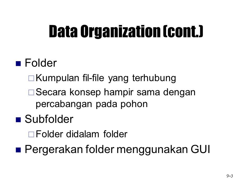 Data Organization (cont.) Folder  Kumpulan fil-file yang terhubung  Secara konsep hampir sama dengan percabangan pada pohon Subfolder  Folder didal