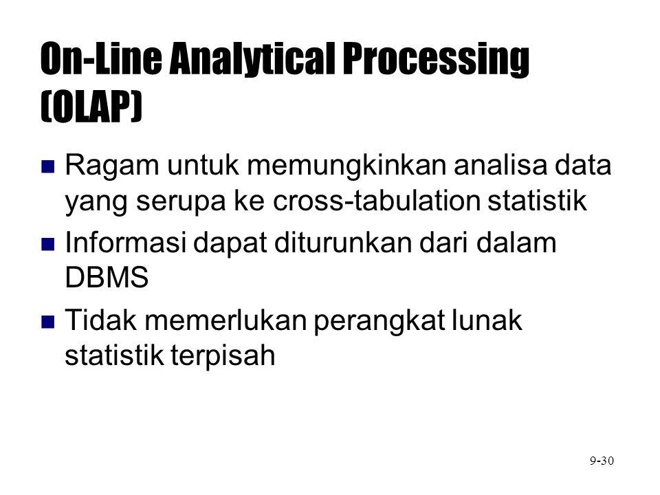 On-Line Analytical Processing (OLAP) Ragam untuk memungkinkan analisa data yang serupa ke cross-tabulation statistik Informasi dapat diturunkan dari d
