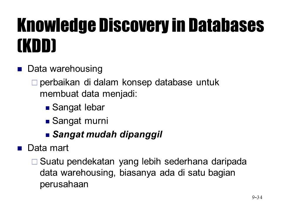 Knowledge Discovery in Databases (KDD) Data warehousing  perbaikan di dalam konsep database untuk membuat data menjadi: Sangat lebar Sangat murni San