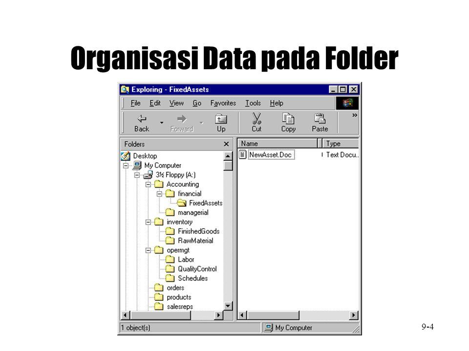Bentuk Model untu Organisasi file data 1. Fungsi 2. Frekuensi Penggunaan 3. Pemakai 4. Project 9-5