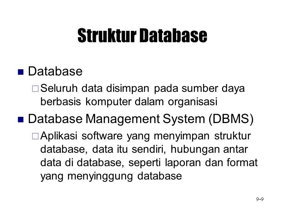 Struktur Database Database  Seluruh data disimpan pada sumber daya berbasis komputer dalam organisasi Database Management System (DBMS)  Aplikasi so