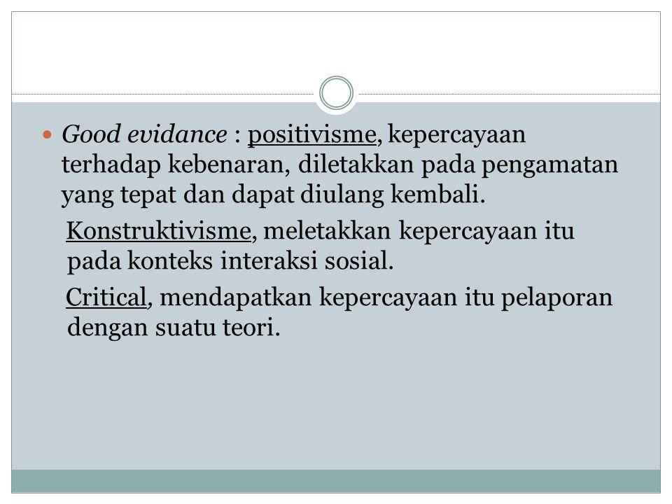 Good evidance : positivisme, kepercayaan terhadap kebenaran, diletakkan pada pengamatan yang tepat dan dapat diulang kembali.