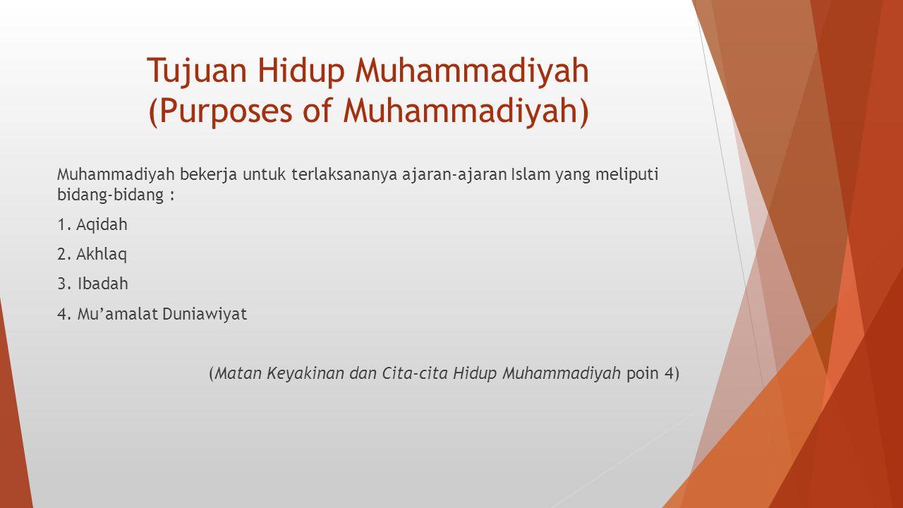 Tujuan Hidup Muhammadiyah (Purposes of Muhammadiyah) Muhammadiyah bekerja untuk terlaksananya ajaran-ajaran Islam yang meliputi bidang-bidang : 1. Aqi