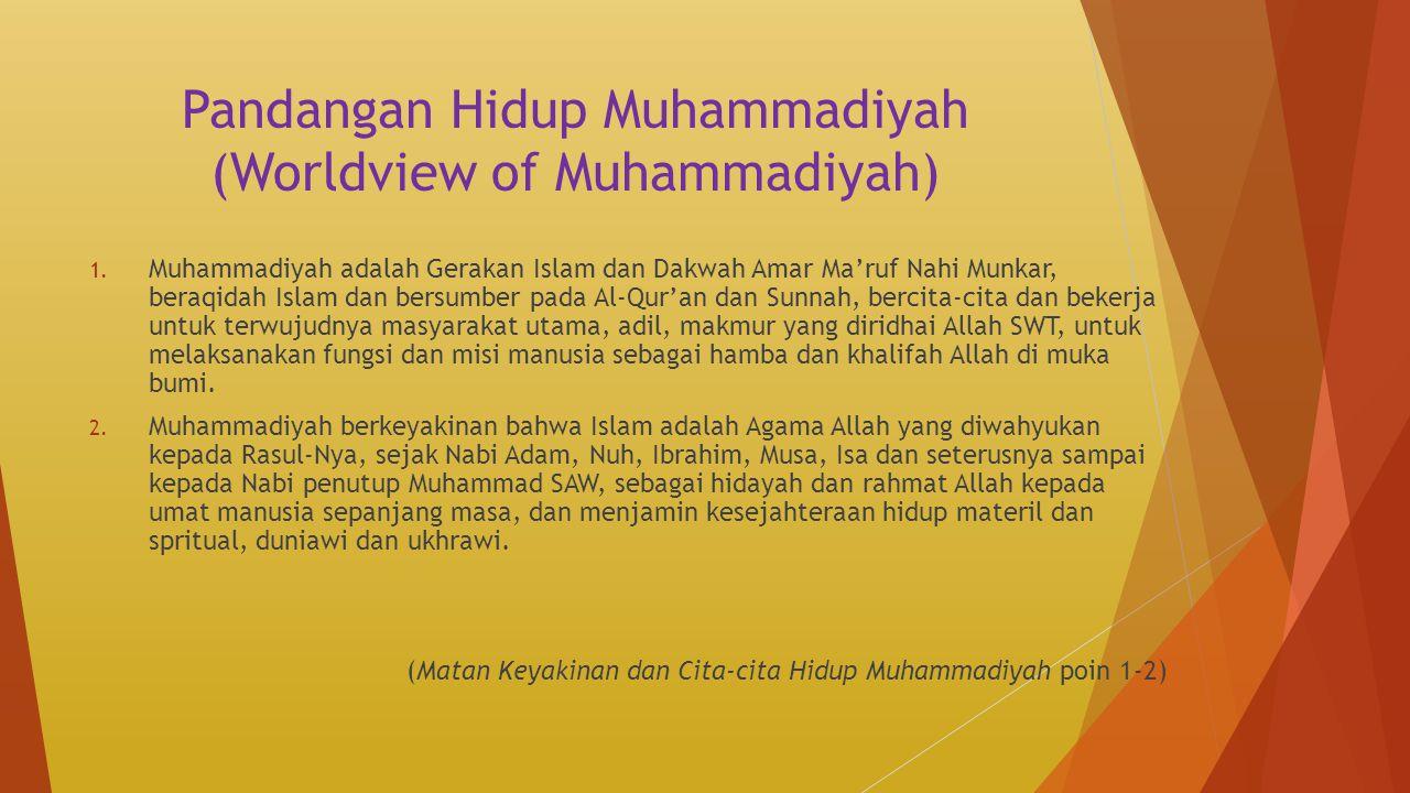 Pandangan Hidup Muhammadiyah (Worldview of Muhammadiyah) 1. Muhammadiyah adalah Gerakan Islam dan Dakwah Amar Ma'ruf Nahi Munkar, beraqidah Islam dan