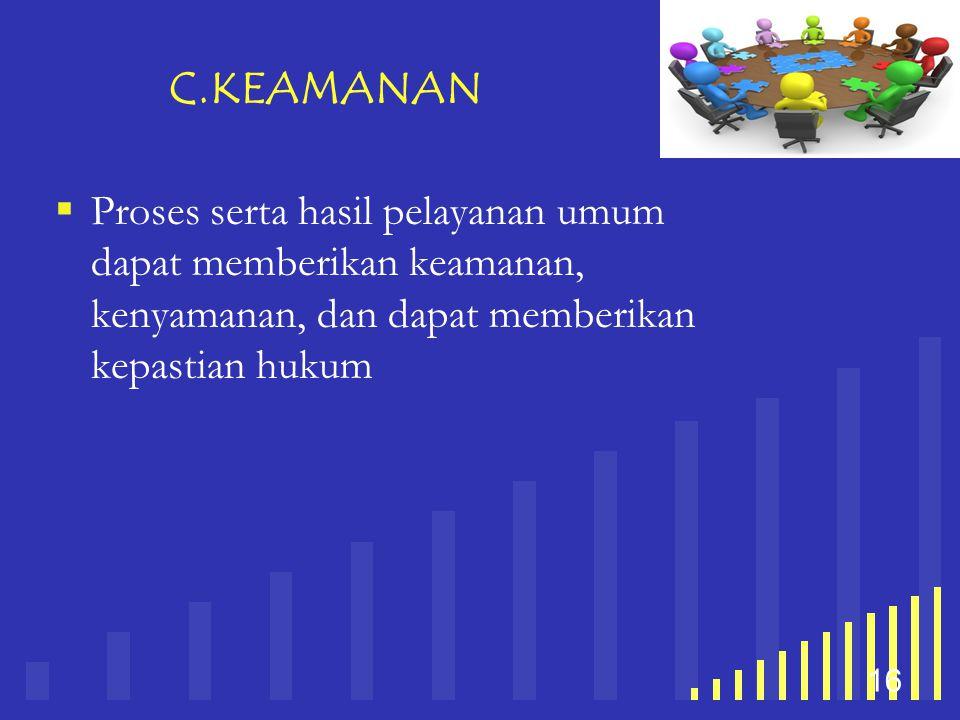 your company name 16 C.KEAMANAN  Proses serta hasil pelayanan umum dapat memberikan keamanan, kenyamanan, dan dapat memberikan kepastian hukum