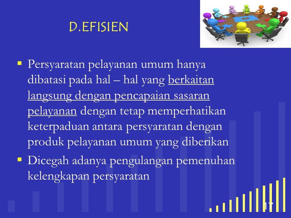 your company name 17 D.EFISIEN  Persyaratan pelayanan umum hanya dibatasi pada hal – hal yang berkaitan langsung dengan pencapaian sasaran pelayanan