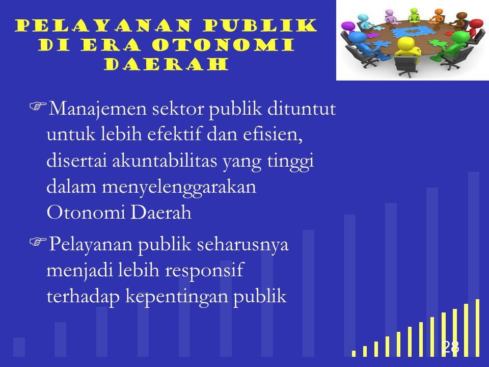 your company name 28 Pelayanan publik di era otonomi daerah  Manajemen sektor publik dituntut untuk lebih efektif dan efisien, disertai akuntabilitas