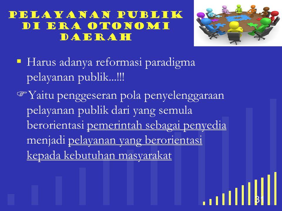 your company name 31 Pelayanan publik di era otonomi daerah  Harus adanya reformasi paradigma pelayanan publik...!!!  Yaitu penggeseran pola penyele