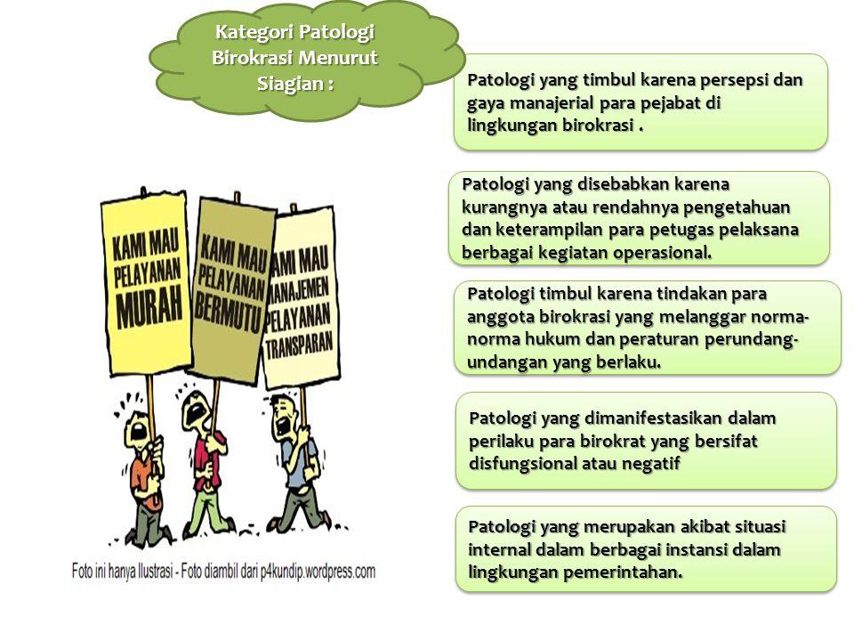 Ruang Lingkup Patologi Birokrasi Disfunctions of bureaucracy Mal administration