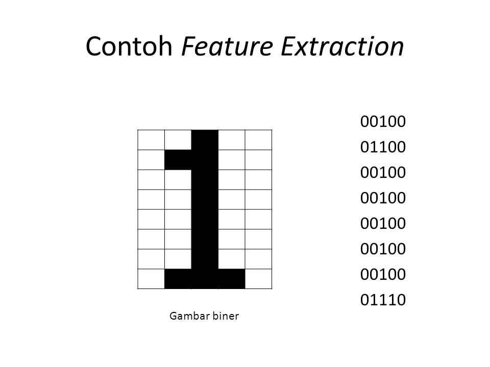 Contoh Feature Extraction 00100 01100 00100 01110 Gambar biner