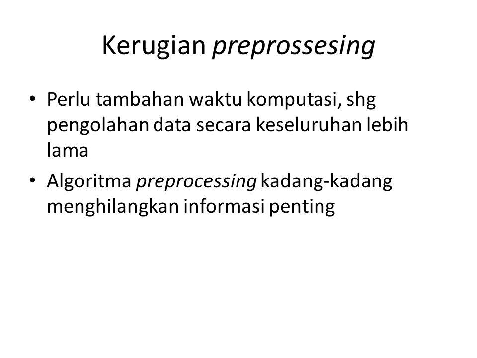 Kerugian preprossesing Perlu tambahan waktu komputasi, shg pengolahan data secara keseluruhan lebih lama Algoritma preprocessing kadang-kadang menghil