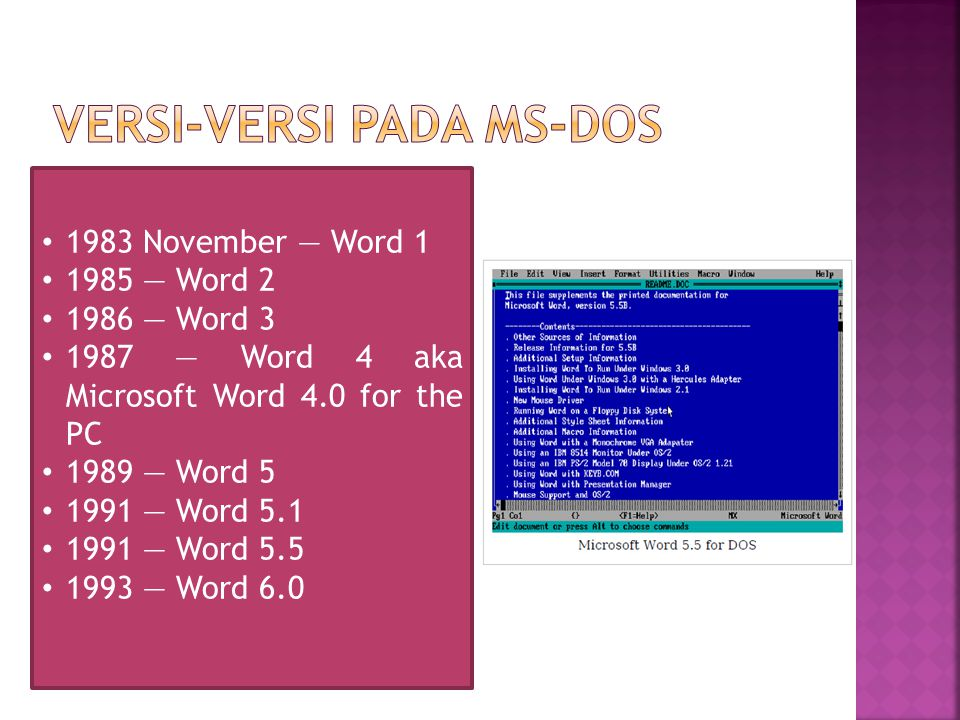 1983 November — Word 1 1985 — Word 2 1986 — Word 3 1987 — Word 4 aka Microsoft Word 4.0 for the PC 1989 — Word 5 1991 — Word 5.1 1991 — Word 5.5 1993